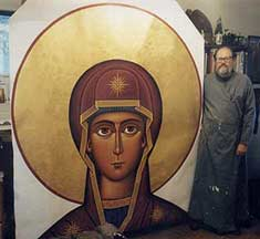 Fr Luke With Large Theotokos Icon